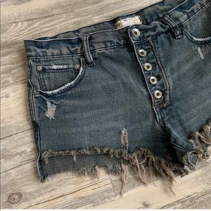 Free People Jillian Cut Off Button Fly Denim Short